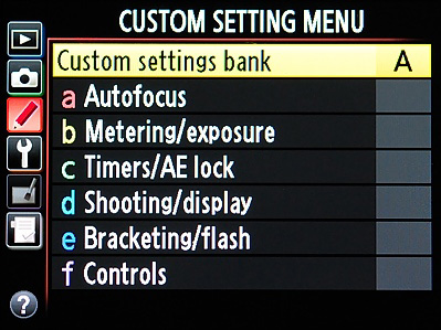 Custom Settings Menu