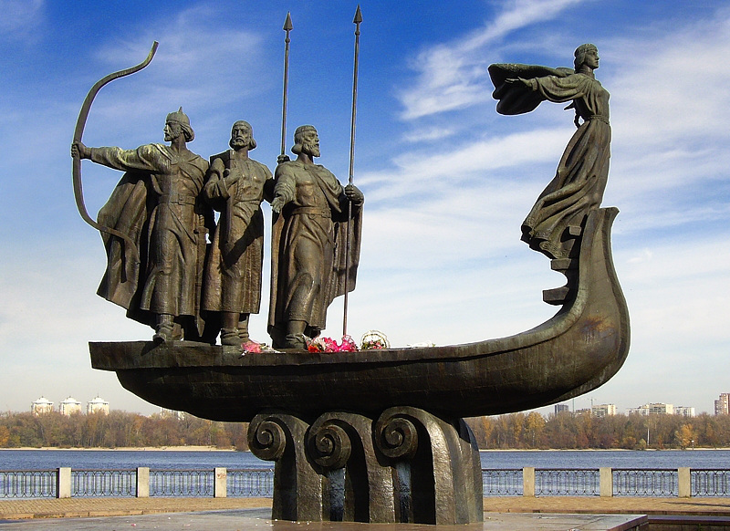 Monument to the three brothers Kyi, Schek, Horyv and their sister Lybid, founders of Kyiv