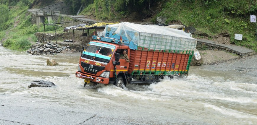 Truck in the stream