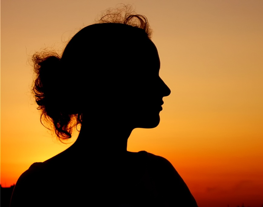 Silhouette of side profile