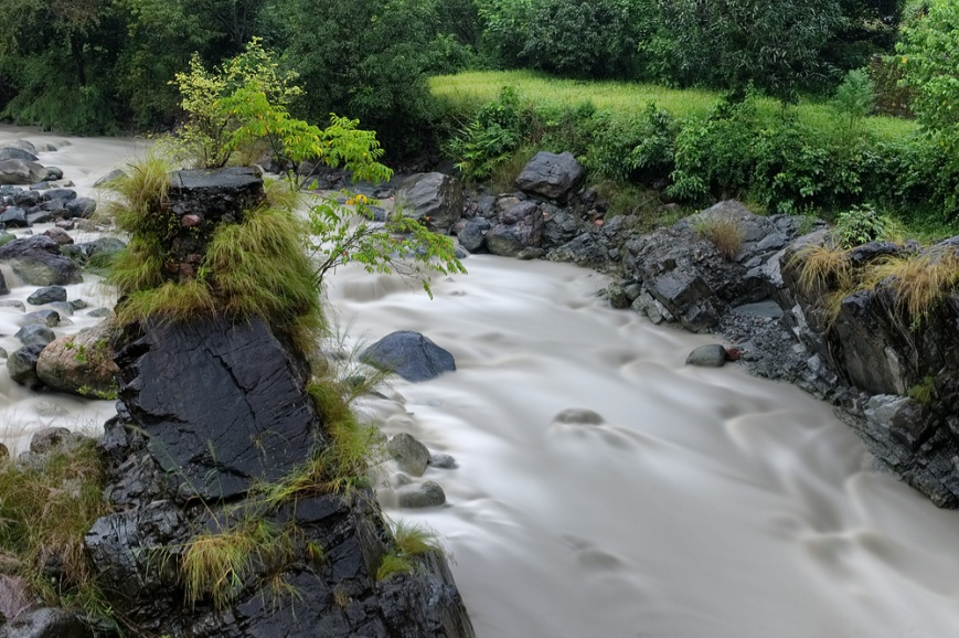 Mountain stream from top