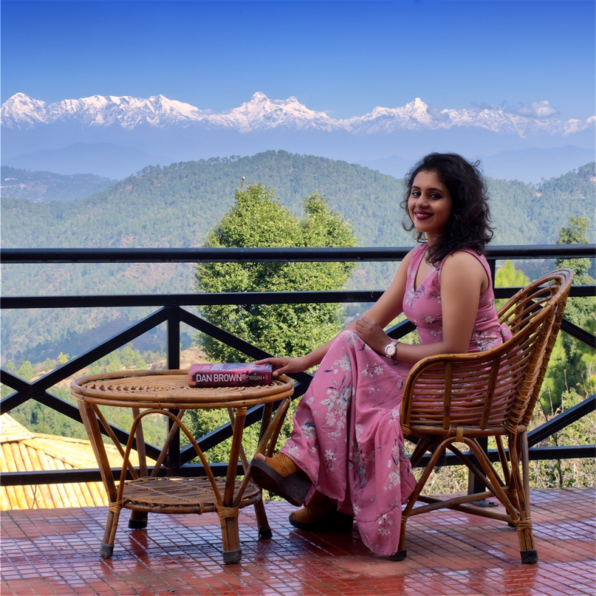 Lady in front to Himalayas