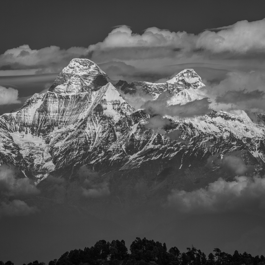 Nanda Devi peak behind the clouds