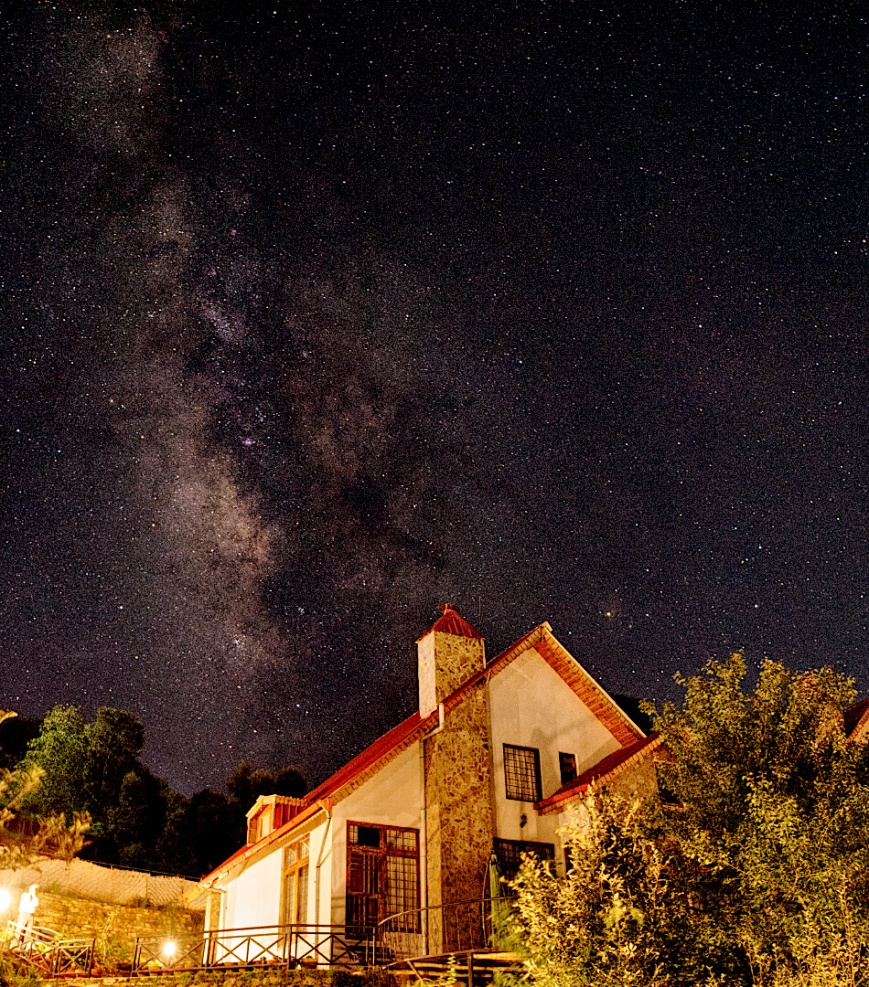 Milky Way behind Maini's Hill Cottages